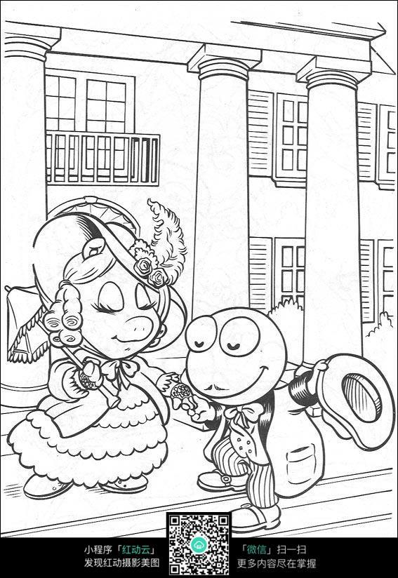卡通青蛙和美女手绘线稿图片