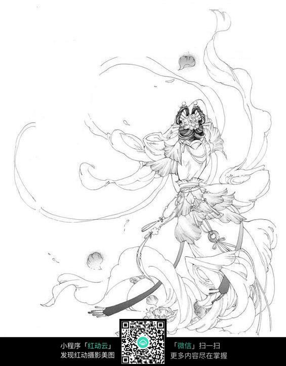 卡通人物背影手绘线稿