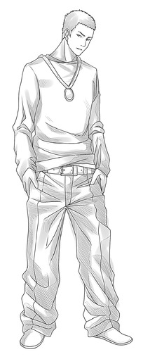 卡通少年手绘线稿