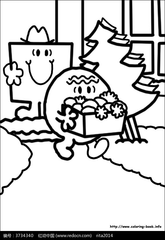 卡通圣诞礼物小人手绘线稿图片