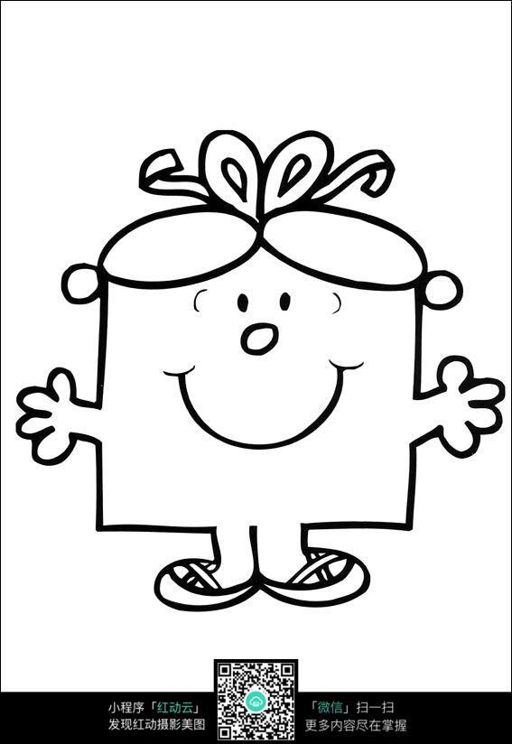 卡通双手张开的小女孩手绘线稿图片