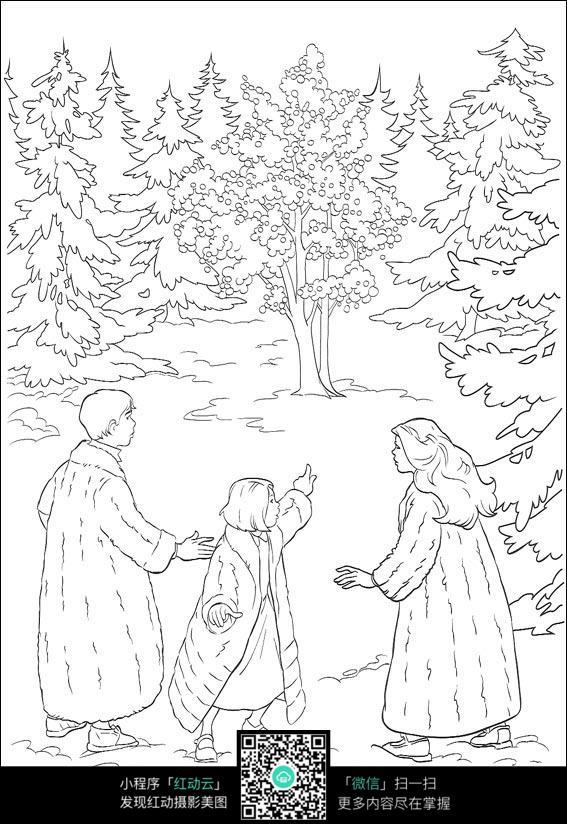卡通树林里的一家手绘线稿图片