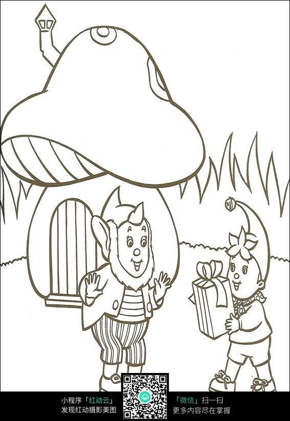 卡通送礼物给爷爷的小孩黑白简笔画图片素材