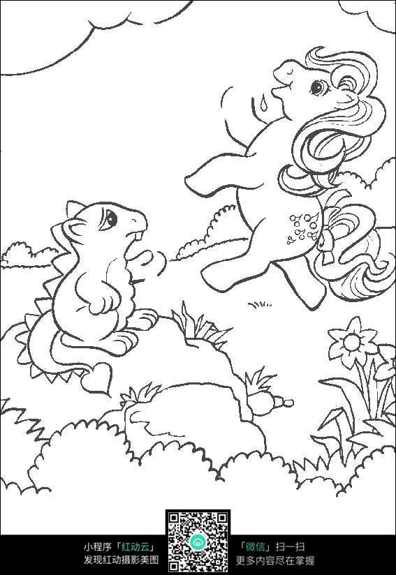 卡通松鼠小马手绘线稿图片