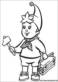 卡通提工具箱的小孩黑白简笔画图片素材