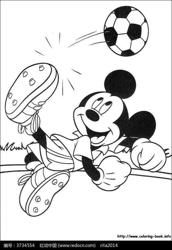 卡通踢足球的米老鼠手绘线稿图片