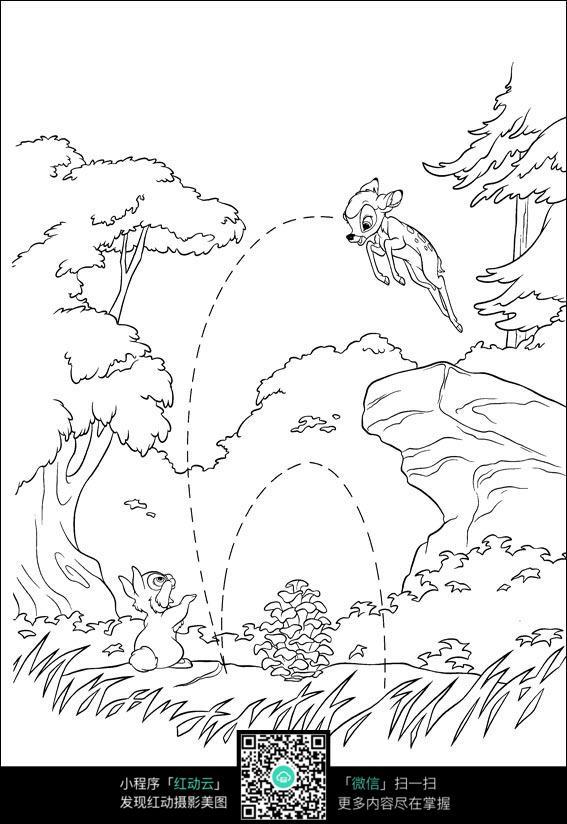 卡通兔子和鹿手绘线稿图片