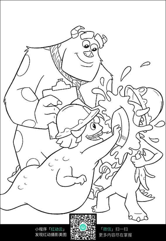 卡通玩耍的小孩手绘线稿图