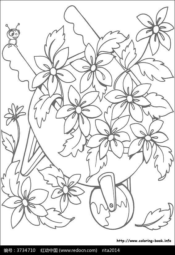 卡通鲜花手绘线稿图片