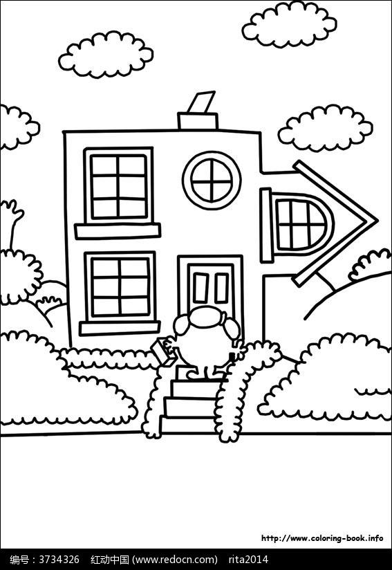 卡通小别墅小人手绘线稿图片
