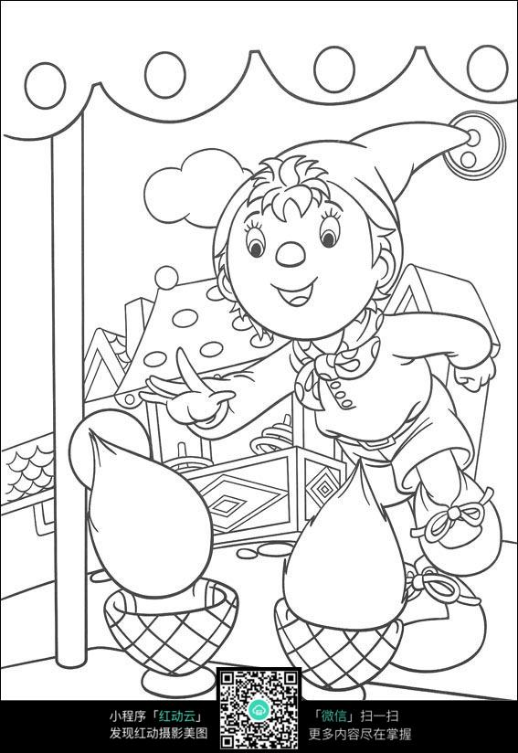 卡通小孩美食黑白简笔画图片素材