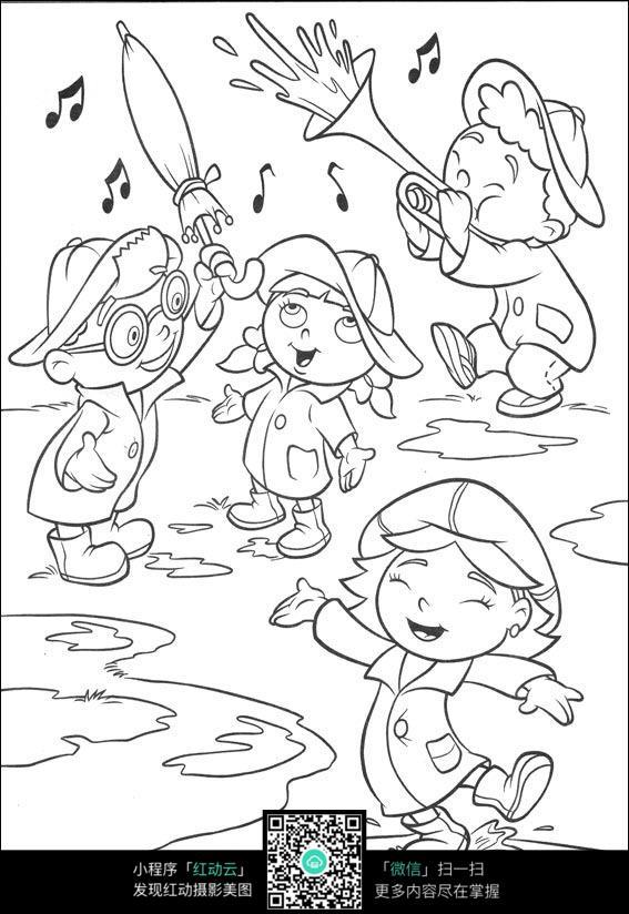 免费素材图片壁纸素材插画卡通漫画小孩漫画分享线稿请您手绘卡通初三人物三月图片
