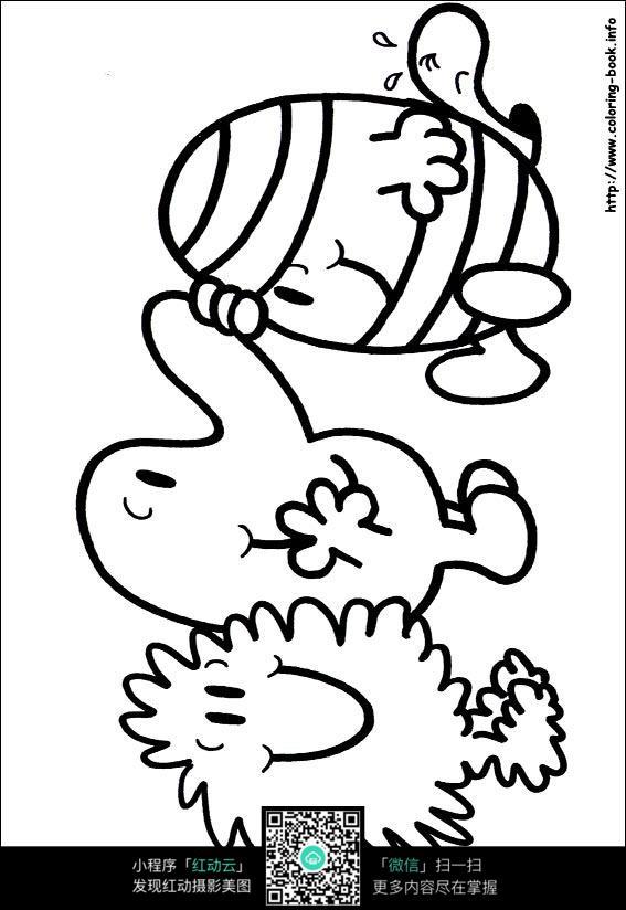 卡通小孩手绘线稿图片