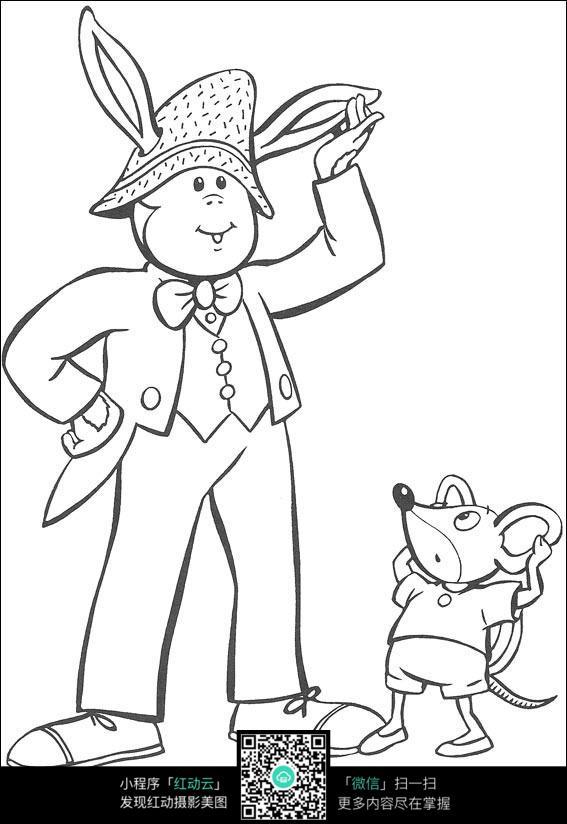 开车的老鼠小猫黑白简笔画图片素材