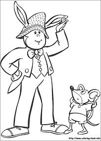 卡通小孩小老鼠黑白简笔画图片素材