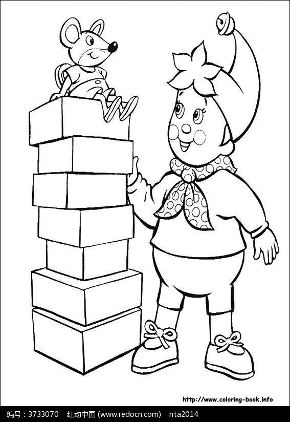 卡通小孩小老鼠黑白简笔画图片素材-萌小孩 小熊简笔画