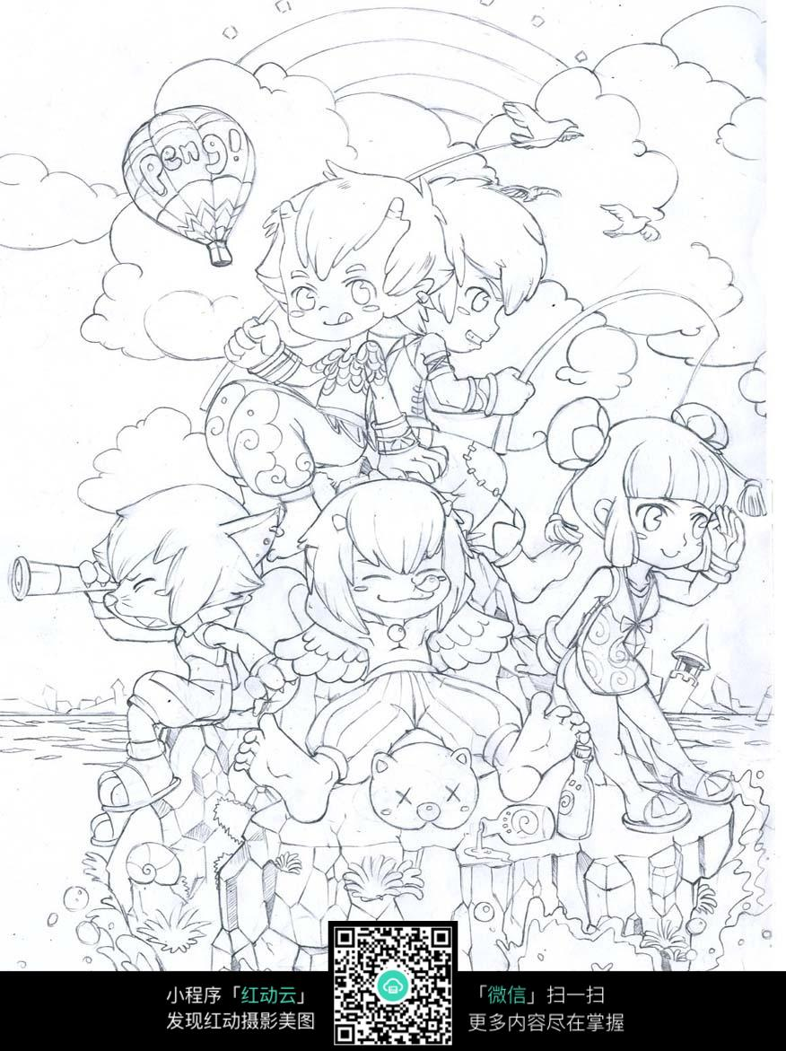 卡通小孩子们聚会玩耍