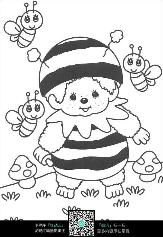 卡通小蜜蜂蘑菇手绘线稿图片