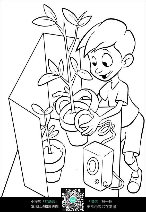 卡通小男孩种花手绘线稿图片 卡通动物 手绘线稿 线稿图片 卡通画