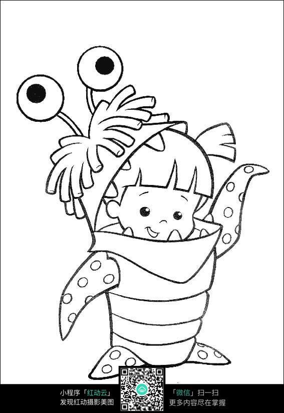 卡通小女孩手绘线稿图
