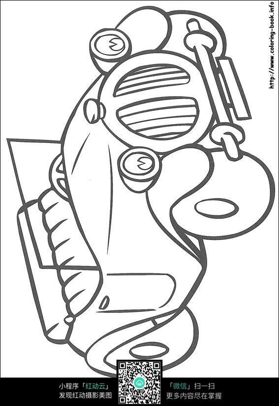 卡通小汽车黑白简笔画图片素材图片免费下载