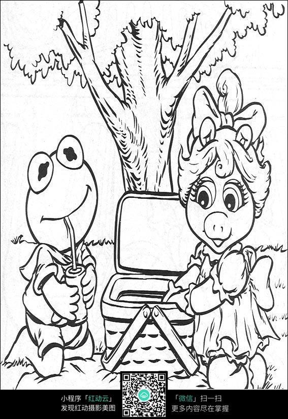 卡通小猪美女青蛙手绘线稿图片