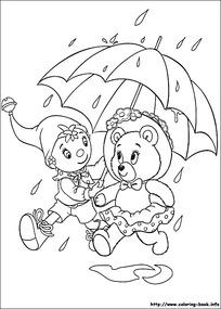 卡通下雨打伞的小孩小熊黑白简笔画图片素材图片