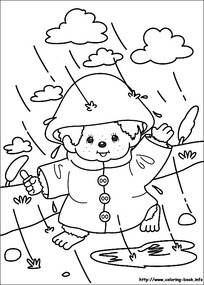 卡通下雨天玩耍的小孩手绘线稿图图片