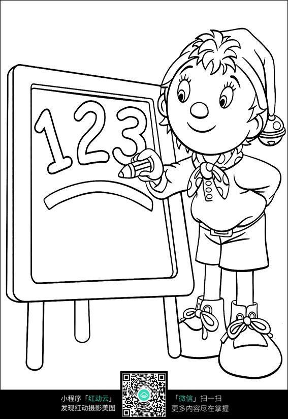 卡通写字的小孩黑白简笔画图片素材