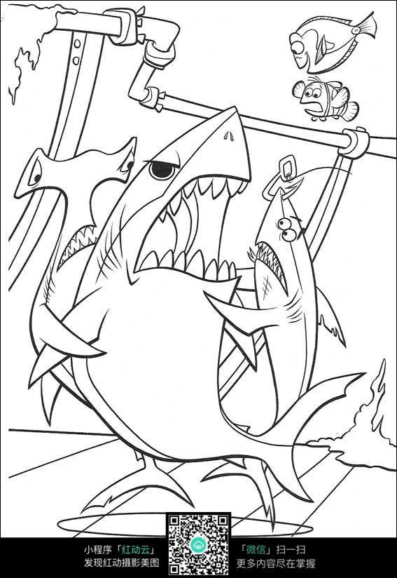 卡通凶恶的鲨鱼手绘线稿图片