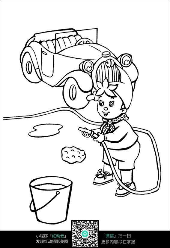 卡通钓鱼的小孩简笔画图片素材