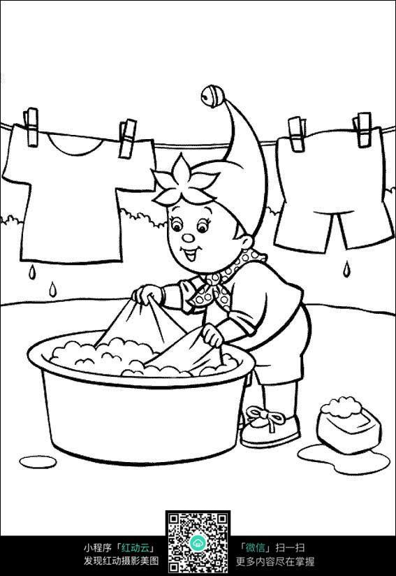 卡通洗衣服的小孩黑白简笔画图片素材