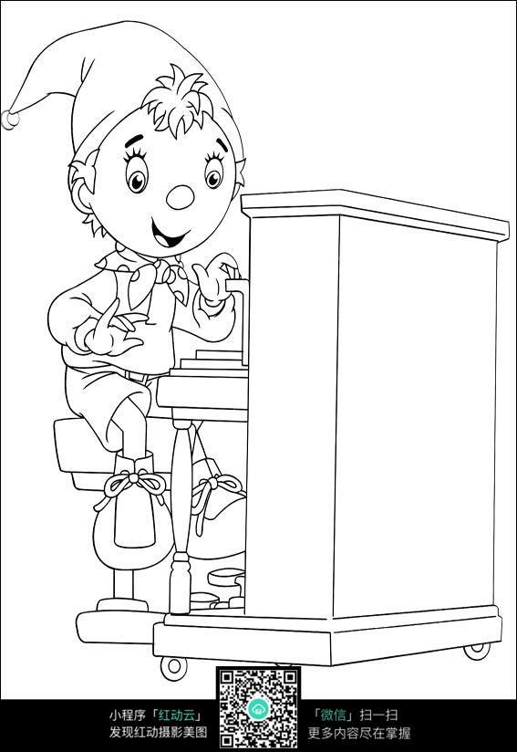 卡通学习的小孩手绘线稿图片