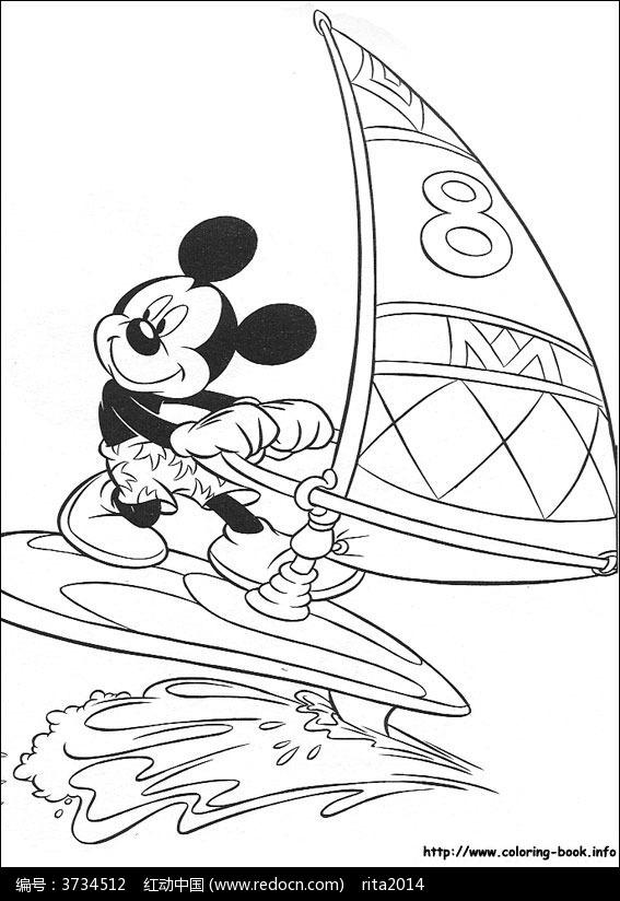卡通扬帆的米老鼠手绘线稿图片
