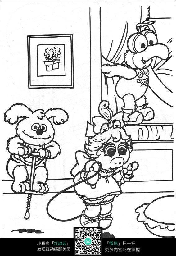 卡通运动的动物们手绘线稿图片