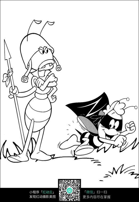 卡通站岗的蜜蜂手绘线稿图片