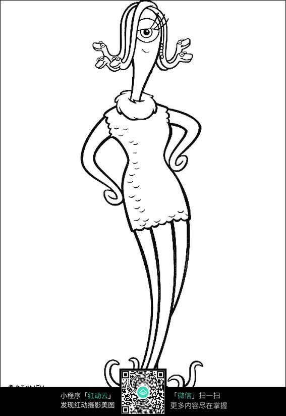 卡通章鱼美女手绘线稿图
