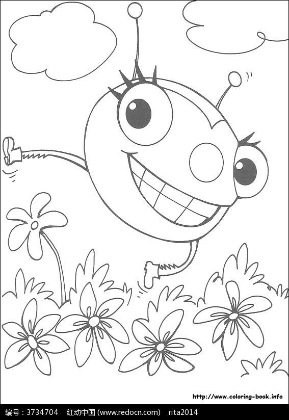 卡通蜘蛛花丛手绘线稿图片