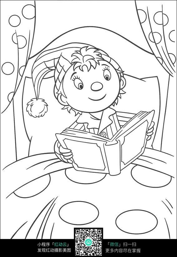卡通坐在床上看书的小孩黑白简笔画图片素材图片
