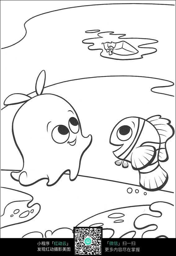 卡章鱼鱼手绘线稿图片