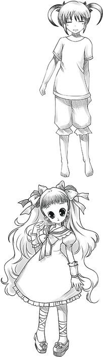 伞和女孩卡通手绘线稿图片