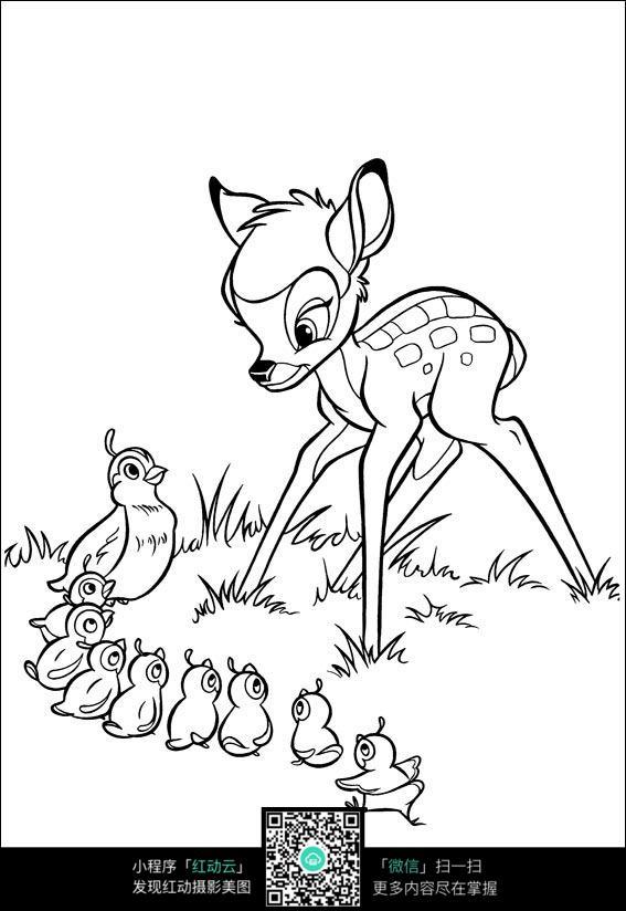 鹿和小鸭子卡通手绘线稿