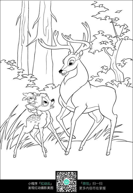 鹿卡通手绘线稿图片