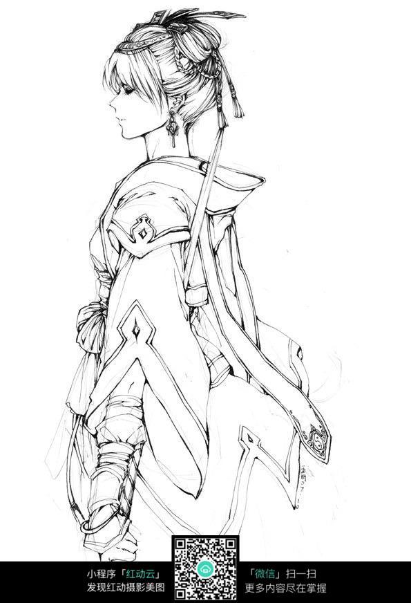 美女侧影卡通手绘线稿