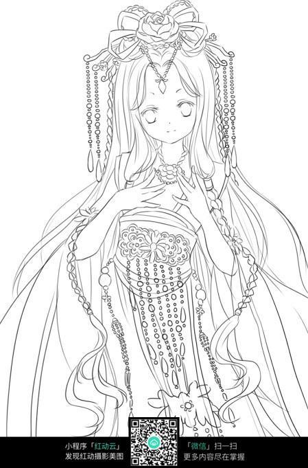 美女卡通手绘线稿