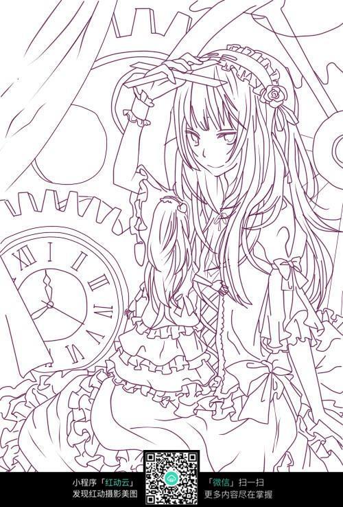 美女卡通手绘线稿图片