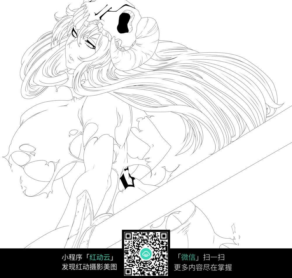 女孩和熊卡通手绘线稿_人物卡通图片_红动手机版
