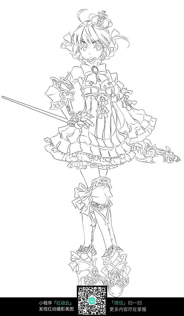 女孩和剑卡通手绘线稿