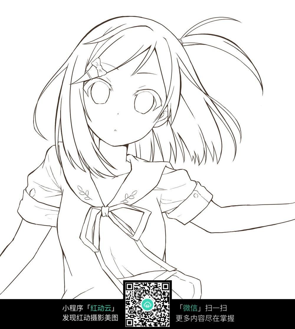 女孩卡通手绘线稿图片_人物卡通图片