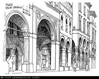 欧式建筑墙面速写图片